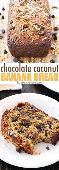 Chocolate Coconut Banana Bread is a soft, moist, easy-to-make quick bread bursting with ripe banana, creamy chocolate chips, and chewy coconut! I apologize for missing my usual post this past Monday Coconut Banana Bread, Coconut Muffins, Best Banana Bread, Nutella Recipes, Coconut Recipes, Banana Bread Recipes, Chocolate Chip Banana Bread, Chocolate Chip Recipes, Chocolate Chips