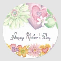 Pretty Floral Wreath Happy Mother's Day Classic Round Sticker   Zazzle.com Happy Mother's Day Card, Happy Fathers Day, Happy Mothers, Mothers Day Quotes, Mothers Day Cards, Mothers Day Classic, Personalized Mother's Day Gifts, Happy Independence Day, Round Stickers