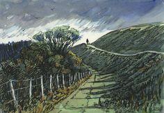 Hambledon Hill, Dorset, pen and wash, plein air, drawing Pen Sketch, Sketches, Rob Adams, Pen And Wash, Watercolor, London, Art Journals, Drawings, Places