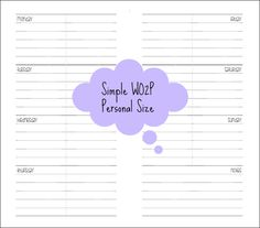 Planner Fun - free inserts, links, hacks & fun: Personal Size WO2P [printable]
