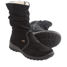 Rieker Eike 71 Boots - Shearling Lined (For Women) in Black Suede
