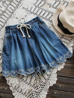 Elasticated Embroidered Denim Shorts - Deep Blue