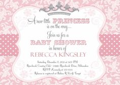 pink baby showers | Pink princess baby shower invitation
