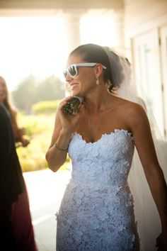 the bride wore white...sunnies! this rad bride even passed out white wayfarers for her guests to wear. via style me pretty and lauren + abby photography