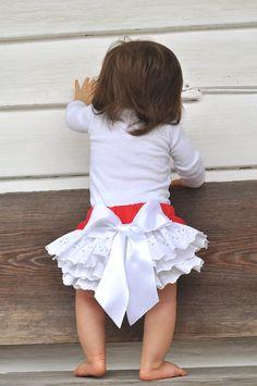 Baby Ruffled bloomers Girls Toddlers  0-3 mos,3-6 mo, 6-9mo , 9-12 mo,18 mo 24 mo. $25.00, via Etsy.