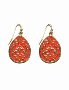 The Limited - Scrollwork Enamel Earrings in Red Coral: $19.90