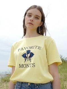 W CONCEPT: W concept - [MONTS: monts] monts386 blue rose remon t-shirt (2color)