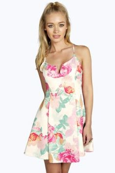 Emma Wire Detail Strappy Floral Skater Dress at boohoo.com