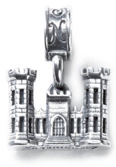 Nomades - Engineers - The medieval turreted castle as a logo was started in 1840 but the origins of this symbol are shrouded in mystery. While the designs of the emblem changed, the castle remains a distinctive symbol of the US services Engineers. The engineer charm is a sterling silver 3D castle with Engineer written on the bottom.
