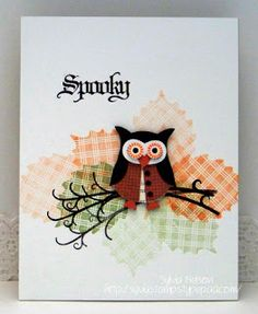 colourQ 151: basic black, tangerine tango, only orange and pear pizzaz. C-U-T-E owl card from Sylvia Nelson