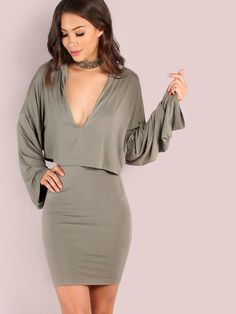 Shop Long Sleeve Hoodie Overlay Dress OLIVE online. SheIn offers Long Sleeve Hoodie Overlay Dress OLIVE & more to fit your fashionable needs.