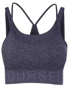 424a97425811b Letter Pattern Grey Sport Bra - DEEP GRAY S Mobile Athleisure
