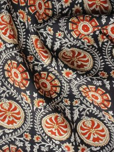 Black Red Ivory Hand Block Printed Cotton Fabric Per Meter - F001F1006