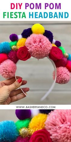 DIY Pom Pom Floral Fiesta Headband These DIY Halloween Costumes for Kids (and their mamas) feature a llama, cactus, taco, hot pepper and are created from everyday clothes. Costume Halloween, Halloween Headband, Diy Halloween Costumes For Kids, Wedding Dress Costume, Diy Wedding Dress, Pom Pom Headband, Diy Headband, Flower Headbands, Halloween Accessoires