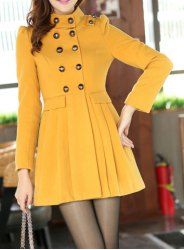 Sweet Stand Collar Double-Breasted Bow Embellished Long Sleeves Coat For Women