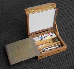 """In the last post, I mentioned something called a """"pochade box."""" That will be the focus of this post. In researching pochade boxes, I found . Pochade Box, Alice In Wonderland Diy, Artist Supplies, Art Storage, Painted Boxes, Environmental Art, Box Art, Art Studios, Art Tutorials"""