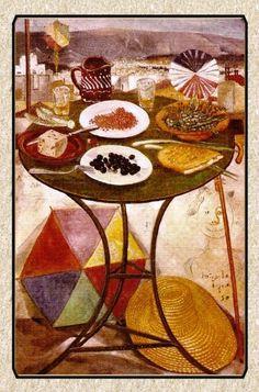 «Το τραπέζι της Καθαράς Δευτέρας» , έτσι λέγεται ο πίνακας που ζωγράφισε το 1950 ο Σπύρος Βασιλείου: Πάνω σε ένα τραπεζάκι καφενείου...