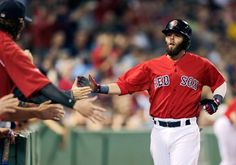 Boston Red Sox's Dustin Pedroia is congratulated by teammates after scoring on a wild pitch by Toronto Blue Jays' Esmil Rogers during the first inning at Fenway, Friday, Sept, in Boston. Wild Pitch, Dustin Pedroia, Beach Reading, Toronto Blue Jays, Boston Red Sox, Dodgers, Great Books, Good People