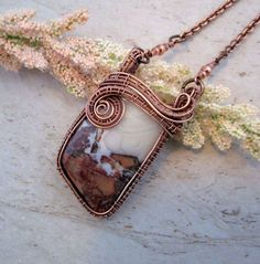 Wire Wrapped Pendant / Wire Wrapped by FearlessCreationsbyJ - Wire weaving tutorials and ideas - Jewelry Wire Necklace, Wire Wrapped Necklace, Wire Wrapped Rings, Wire Earrings, Wire Wrapped Pendant, Copper Jewelry, Wire Jewelry, Beaded Jewelry, Handmade Jewelry