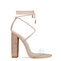 373b38c56f2 Tula Nude Suede Clear Lace Up Diamante Block Heels   Simmi Shoes