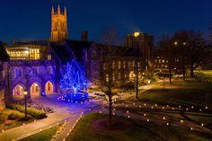 Duke University, Tower Bridge, Happy Holidays, Seasons, Warm, Mansions, House Styles, Merry Christmas, Joy