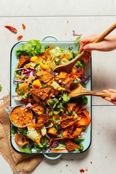 HEALTHY Mango Green Salad with Creamy Peanut Dressing! 15 min, 9 ingredients, SO delicious! #salad #vegan #glutenfree #plantbased #minimalistbaker