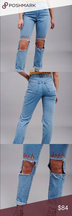 Blaze Jean Classic fit Light Blue Mom Jean, with knee cut outs and flame embroidery.  As this cut is 100% cotton with no stretch, we would usually recommend going up a size from what you would usually wear. – Summer 17 Collection – 100% Cotton ^^^^^^^^^^^^^^^^^^^^^^^^^^^^^^^^ above is the info directly from theraggedpriest.com. You are buying a size 28, but it fits like a 26. The jeans did not fit me so they have never been worn. Store is located in the U.K. and would cost me over $20 in…