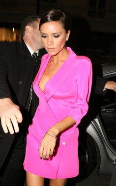 Victoria Beckham in a gorgeous hot pink #wrapdress.