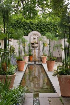 Big Garden Landscaping Heather Eastwood saved to Zinn yard ideasArea a rectangular, clean-lined pond with (pots of) Papyrus and a fountain at the back wall. Garden Deco, Garden Pool, Backyard Landscaping, Backyard Ideas, Garden Water, Backyard Waterfalls, Backyard Ponds, Koi Ponds, Big Garden