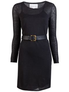 Belted silk dress in kohl from Brochu Walker. This sheer, cotton-blend dress features a crewneck, long sleeves, belt with gold buckle and silk spaghetti strap dress for lining.