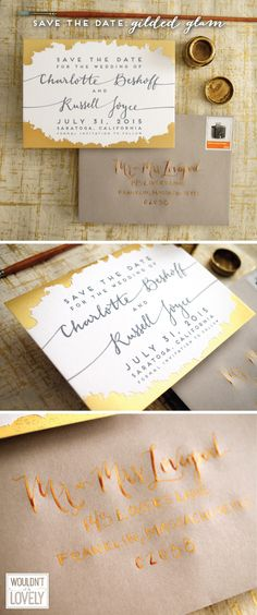 gold and grey modern wedding save the dates, gold foil custom designed invitations by Wouldn't it be Lovely