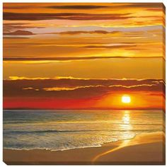 Dan Werner 'Sunset on the Sea' Stretched Canvas ($220) ❤ liked on Polyvore featuring home, home decor, wall art, blue, sea home decor, sunset wall art, textured wall art, handmade home decor and sea wall art