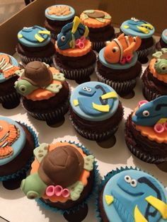 Finding nemo theme cupcakes from Danielle's Homemade Cakes #findingnemo #nemo #nemocupcake