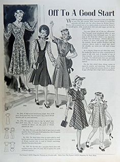 Fashion Page, 30's Full Page B&W Illustration, print art, (Off to a good start) Original Vintage 1938 the Farmer's Wife Magazine Art