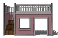 playhouse loft bed stairs                                                       …