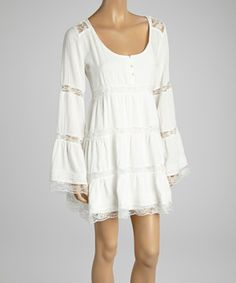 Another great find on #zulily! Dani Collection White Lace Layered Dress by Dani Collection #zulilyfinds