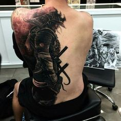 Samurai - Back Tattoo. Check out that cool T-shirt here: https://www.sunfrog.com/I-love-my-firefighter-Black-Ladies.html?53507