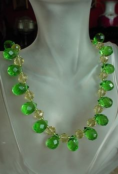 Green Clear  Czech Crystal Tear Drop Necklace  Silver by camexinc, $45.00