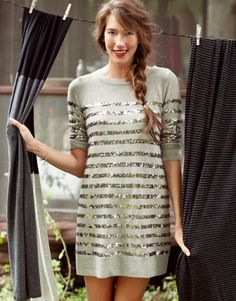 mimi sequin dress by Cardigan with tights and heals it would be super cute.