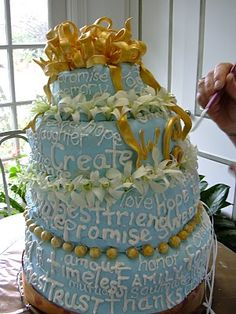 I would've had more than an anxiety attack if this thing had shown up at my wedding!  The mother whom was a professional pastry chef made this.  I would've been at the local grocery stacking already made cakes serving Plan B before I ever would've presented this!