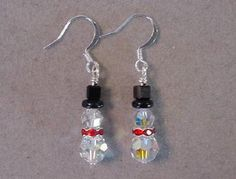 f7a143f33237 Christmas Jewelry Snowman Earrings - Swarovski Crystal SNOWMAN EARRINGS -  Choice silver or gold