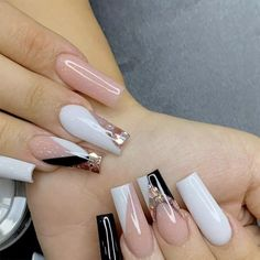White Tip Acrylic Nails, Pink Tip Nails, Acrylic Nails Coffin Short, Bling Nails, White Acrylics, White French Nails, Pink White Nails, Manicure E Pedicure, White Manicure