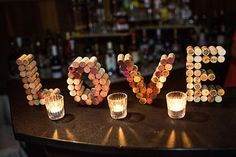 DIY love letter from wine corks