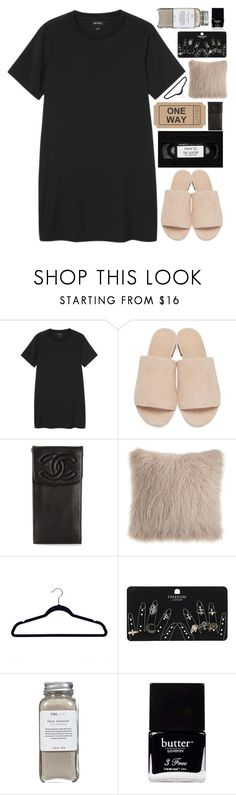 """""""❁happier than i've been in my life"""" by neutralskies ❤ liked on Polyvore featuring Monki, Mansur Gavriel, Chanel, Proman Products, Topshop, Très Pure and Butter London"""