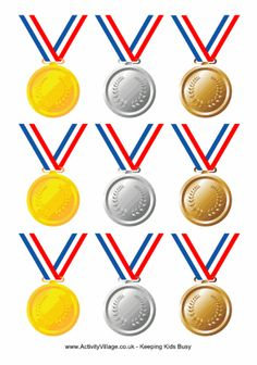 Olympic medals with ribbon printable