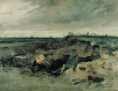 "Maurice Cullen: ""Dead Horse and Rider in a Trench"" 1918. The agitated brushwork below the horse's head reveals the artist's horror at the nature of this subject matter. Carcasses of dead horses littered the landscape of the western front."