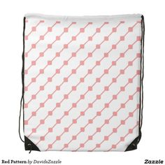 Red Pattern Drawstring Bag  Available on many more products! Type in the name of this design in the search bar on my Zazzle products page!   #abstract #art #pattern #design #color #accessory #accent #zazzle #buy #sale #fashion #tote #bag #mirror #compact #make-up #women #living #modern #chic #contemporary #style #life #lifestyle #minimal #simple #plain #minimalism #square #line #white #red #gym #work #out