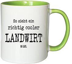 Mister Merchandise Kaffeetasse Becher So sieht ein richtig cooler Landwirt aus. , verschiedene Farben - http://geschirrkaufen.online/mister-merchandise/weiss-gruen-mister-merchandise-kaffeetasse-so-16