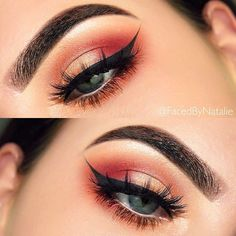 """Modern Renaissance Palette with shades(Vermeer, Golden Ochre, Burnt Orange, Realgar, Love Letter, Venetian Red, and Primavera) Brows: Brow Wiz in Dark Brown, Dip Brow in Ebony, and set with Clear Brow Gel.  @tartecosmetics Waterproof Clay Pot Liner in Black, and Lash Paint Mascara  @kokolashes """"Amore"""" lashes  Brushes: @crownbrush and @luxiebeauty"""