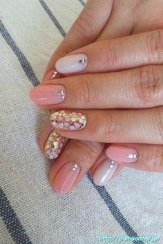 Pink nail ~ Simple design but very elegant